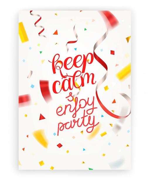 Restez calme et profitez de la fête. caractères Vecteur Premium