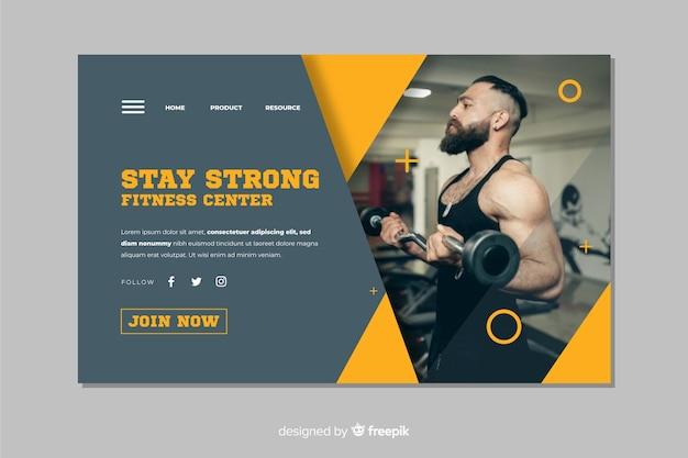 Restez forte page d'atterrissage de promotion de gym Vecteur gratuit