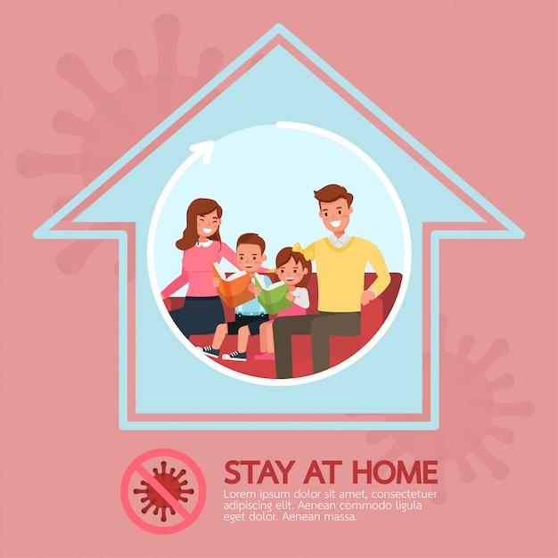 Restez à La Maison, Arrêtez La Conception Des Personnages Du Concept De Coronavirus No2 Vecteur Premium