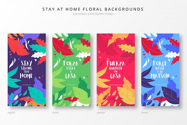 Restez à La Maison Arrière-plans Colorés Pour Des Histoires Insta En Quatre Langues Vecteur gratuit