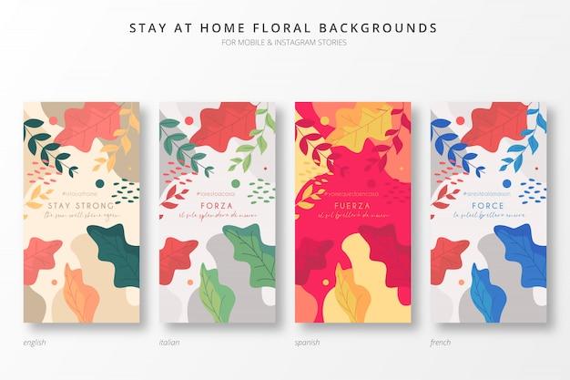 Restez à La Maison Fond Floral Pour Des Histoires Insta Vecteur gratuit