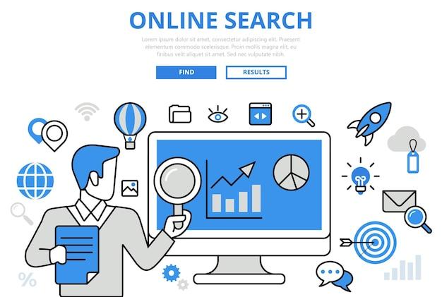 Résultats De La Recherche En Ligne Promotion Seo Analytics Promo Concept Icônes D'art Ligne Plate. Vecteur gratuit