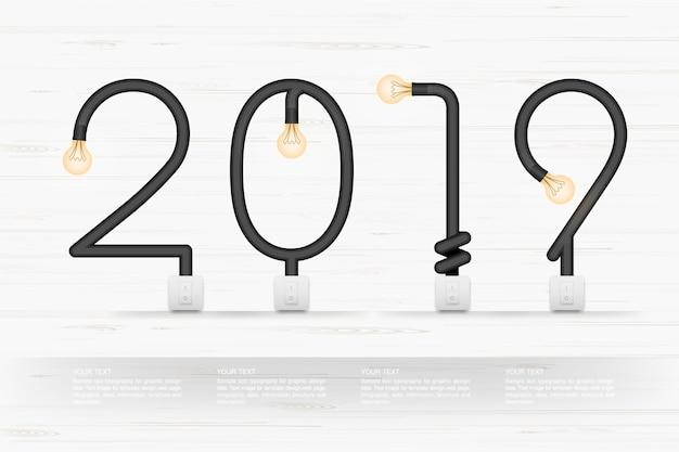 Résumé 2019 année. Vecteur Premium