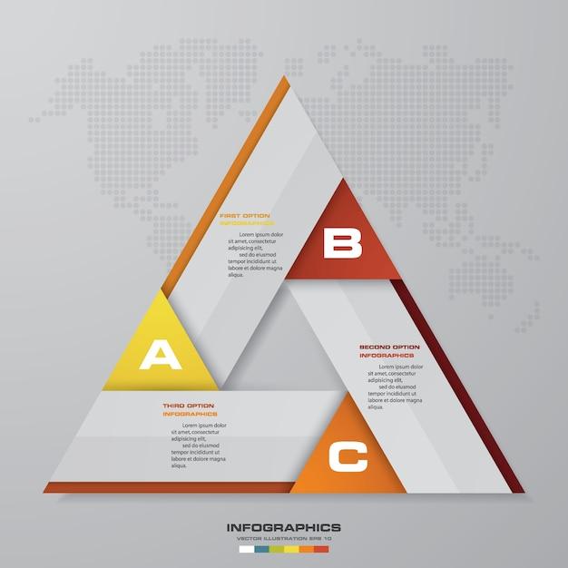 Résumé 3 étapes éléments graphiques infographie moderne. Vecteur Premium