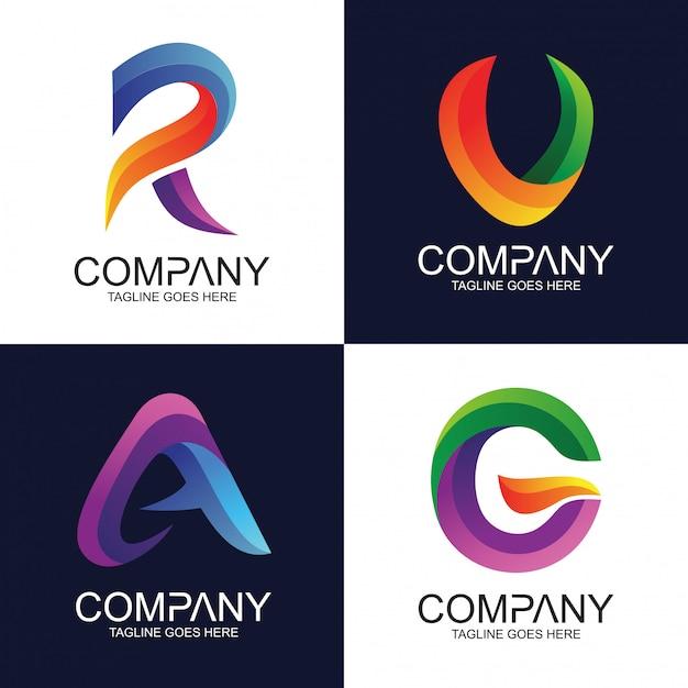 Résumé de l'alphabet en mélange de style coloré collection logo vector Vecteur Premium