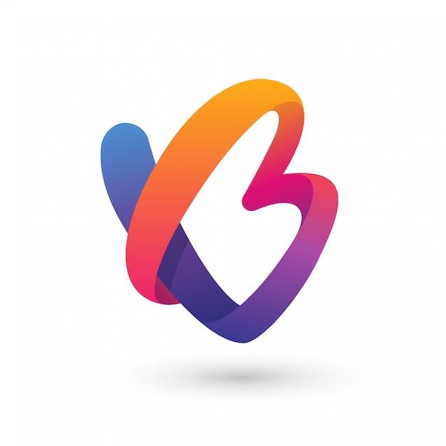 Résumé b ou vb logo Vecteur Premium
