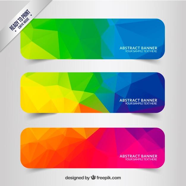 Résumé des banderoles avec des polygones colorés Vecteur gratuit