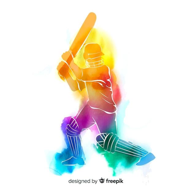 Résumé batteur jouant au cricket dans un style aquarelle Vecteur gratuit