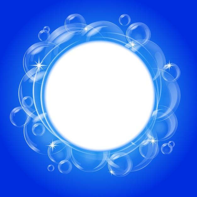 Résumé Bleu Avec Des Bulles Transparentes. Contexte. Vecteur Premium