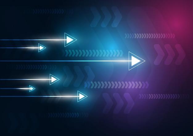 Résumé de charge de données de vitesse et de technologie de flèche au néon avec fond coloré Vecteur Premium