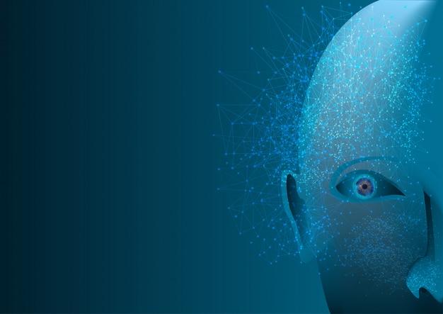 Résumé de la communication numérique futuriste du réseau de neurones et du visage robotique de l'ia. Vecteur Premium
