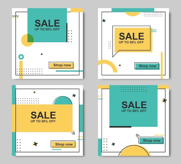 Résumé du modèle de bannière de vente modifiable Vecteur Premium