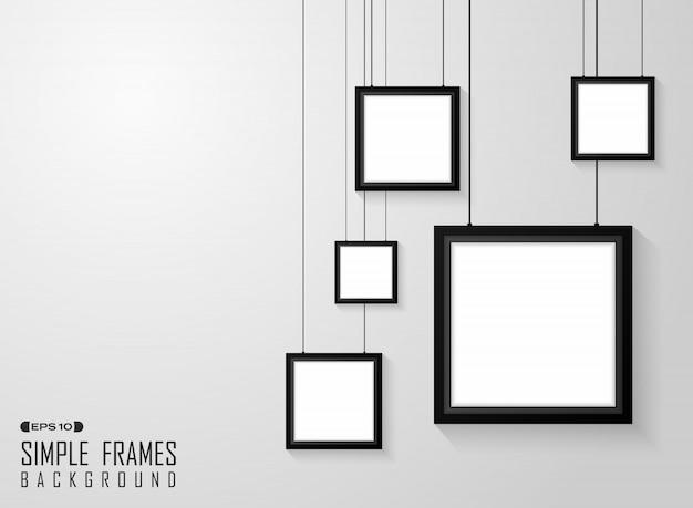 Résumé du motif de cadres noirs carrés simples Vecteur Premium