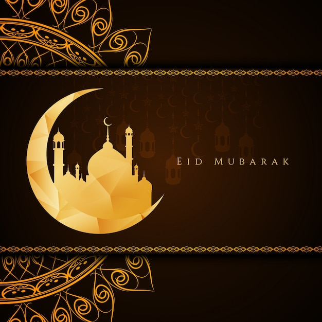 Résumé élégant Eid Mubarak brun fond Vecteur gratuit