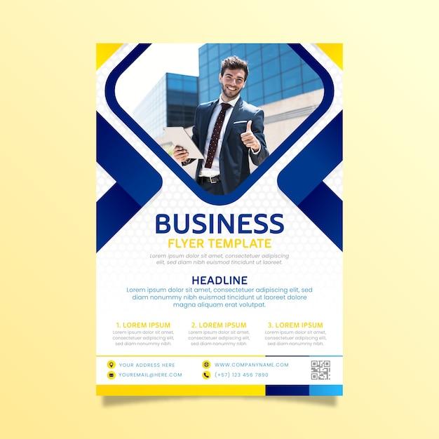 Résumé de flyer business avec image Vecteur gratuit