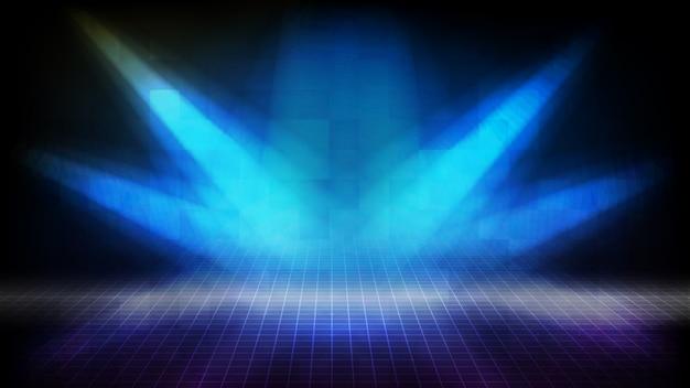 Résumé Fond Futuriste De Scène Vide Bleu Escaliers Recouverts De Tapis Rouge Et éclairage Fond De Scène Spotlgiht Vecteur Premium