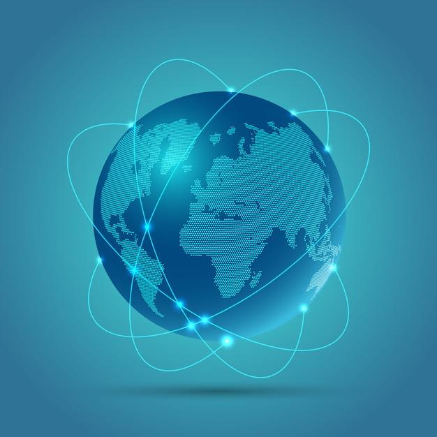 Résumé Fond Globe Représentant Les Communications Réseau Vecteur gratuit