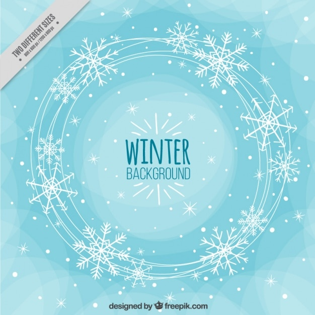 Résumé de fond d'hiver avec des flocons de neige Vecteur gratuit