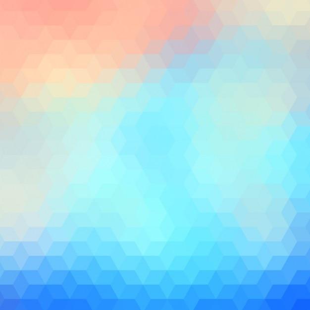Résumé de fond polygonale dans des tons bleus et rouges légers Vecteur gratuit