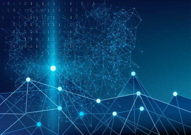 Résumé futuriste du code binaire communication géométrique et mondiale Vecteur Premium