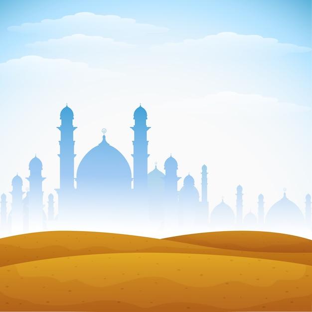 Résumé historique pour eid mubarak Vecteur Premium