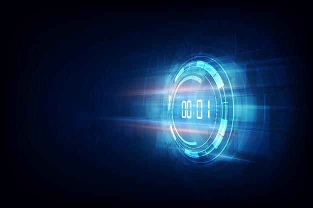 Résumé historique de la technologie futuriste avec concept de minuterie numérique et compte à rebours, vecteur transparent Vecteur Premium