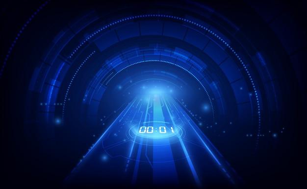 Résumé historique de la technologie futuriste avec concept de minuterie numérique et compte à rebours Vecteur Premium