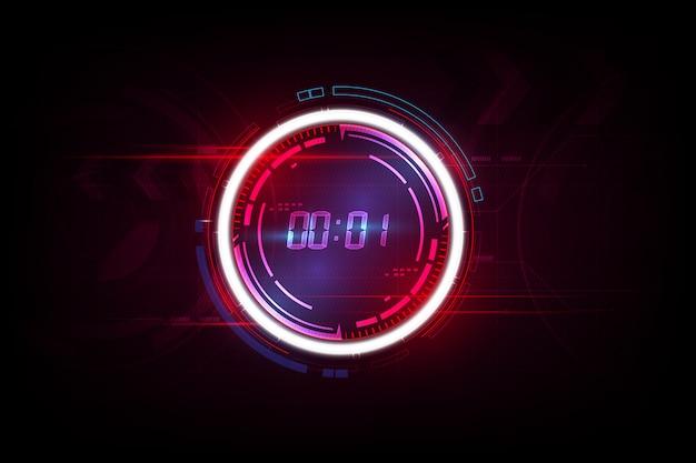 Résumé historique de la technologie futuriste avec le concept de minuterie numérique et compte à rebours. Vecteur Premium