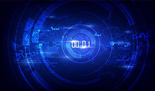 Résumé historique de la technologie futuriste avec concept de minuterie numérique et compte à rebours, Vecteur Premium