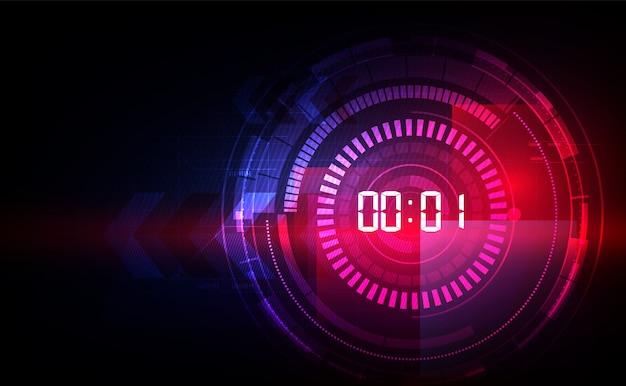 Résumé historique de la technologie futuriste avec le temps numérique Vecteur Premium