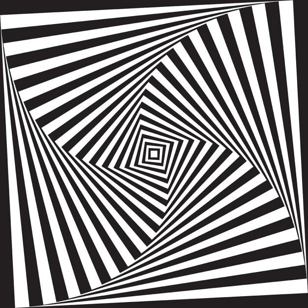 Résumé illusion d'optique design fond noir et blanc Vecteur gratuit