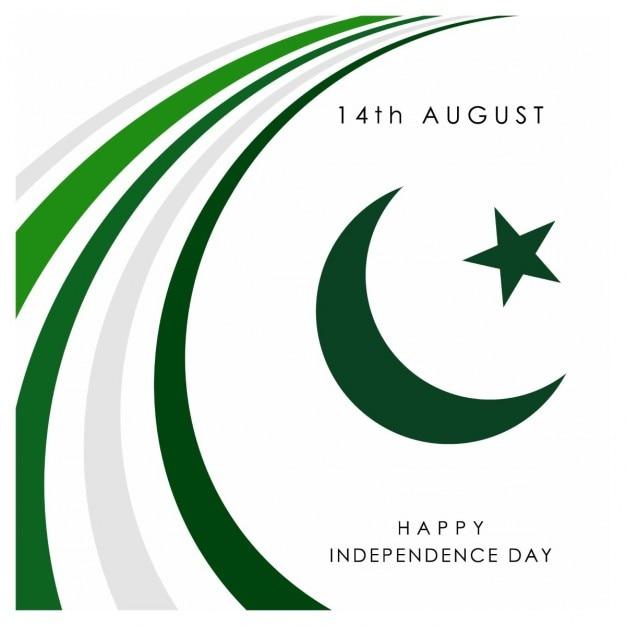 Résumé des lignes de fond avec des éléments de conception de la lune sur fond blanc vector 14 août jour de l'indépendance du pakistan Vecteur gratuit