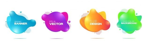 Résumé liquide shdesign de formes géométriques abstraites de couleur liquide Vecteur Premium