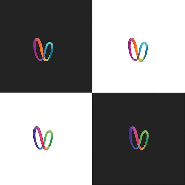 Résumé logo v colorful design Vecteur Premium