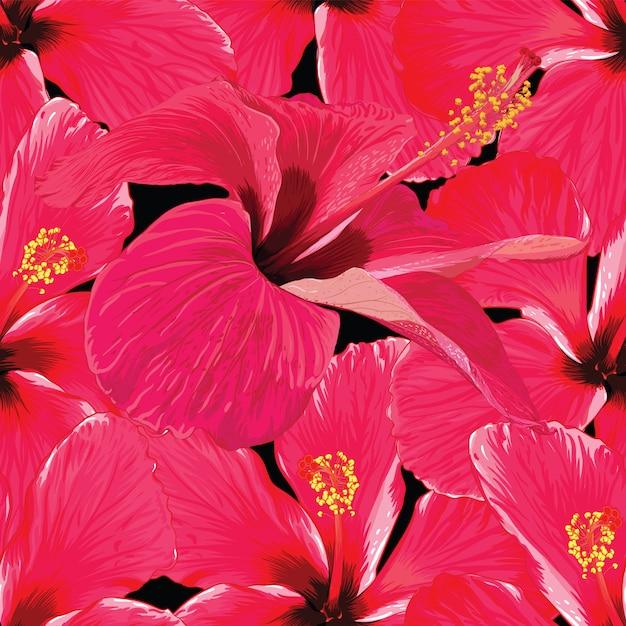 Résumé de modèle sans couture rouge fleurs d'hibiscus. dessin à la main illustration vectorielle Vecteur Premium