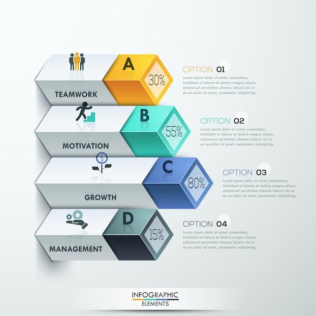Résumé des options d'infographie de diagramme 3d Vecteur Premium