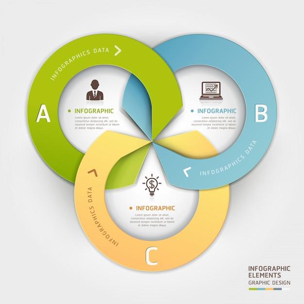Résumé des options de style cercle entreprise origami infographique. Vecteur Premium