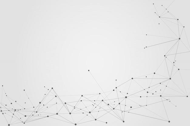 Résumé Des Points Et Des Lignes De Connexion, Fond Polygonal Vecteur Premium
