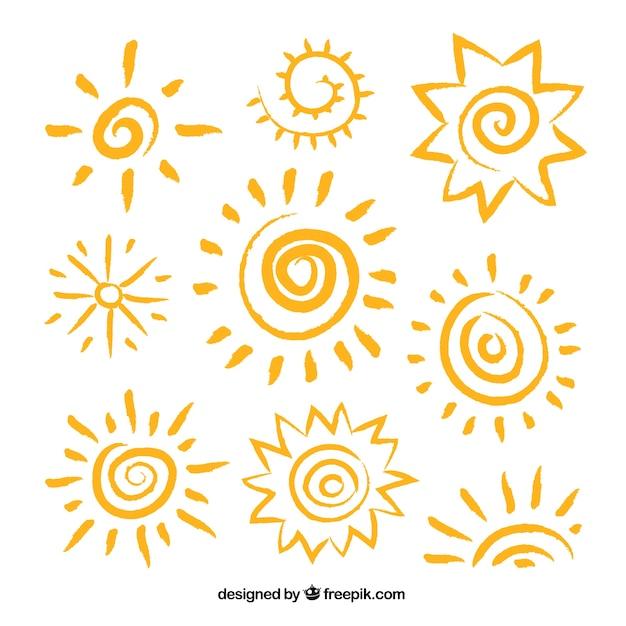 Résumé soleils Vecteur gratuit