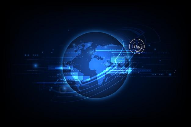 Résumé de la technologie de la communication mondiale, contexte mondial des télécommunications Vecteur Premium