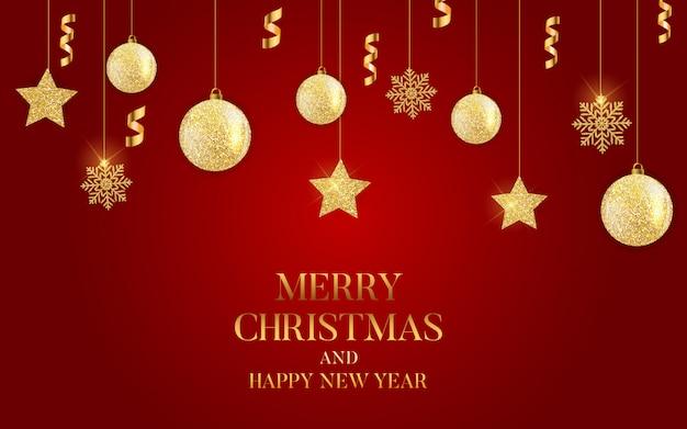 Résumé de vacances nouvel an et joyeux noël avec la guirlande de noël réaliste Vecteur Premium