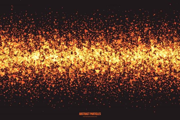 Résumé de vecteur de particules triangulaires rougeoyantes Vecteur Premium