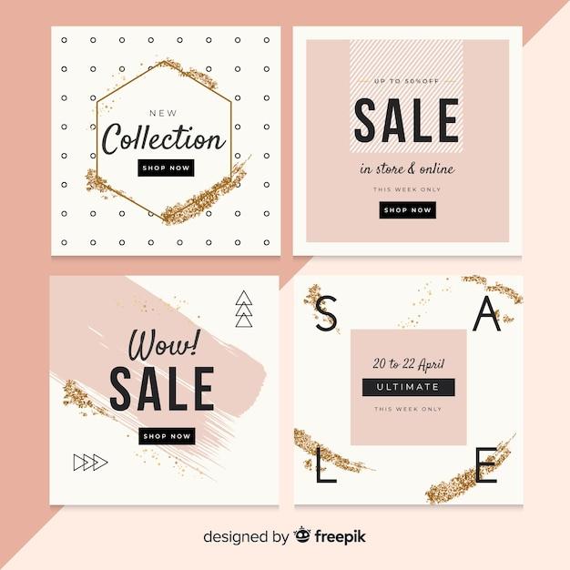 Résumé vente instagram post collection Vecteur gratuit