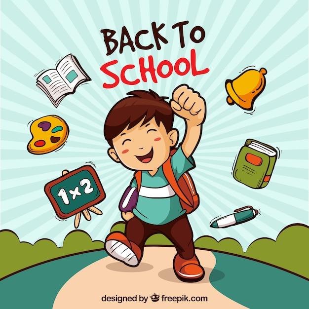 Retour à l'arrière-plan de l'école avec un garçon Vecteur gratuit