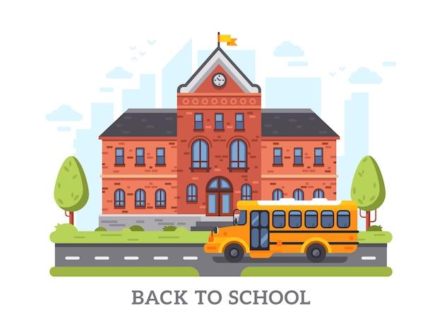 Retour à l'affiche de dessin vectoriel de lycée avec l'académie, collège, bâtiment de l'éducation universitaire Vecteur Premium
