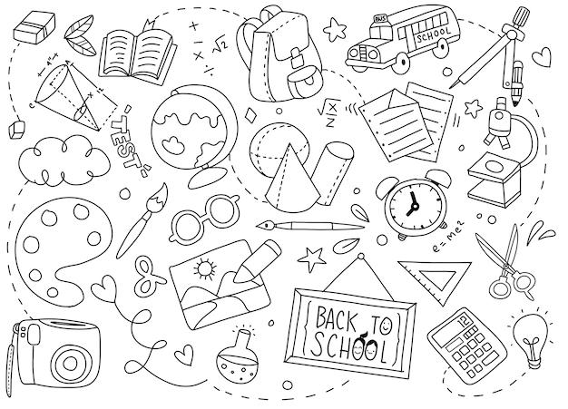 Retour à L'affiche De L'école Avec Des Doodles Vecteur Premium