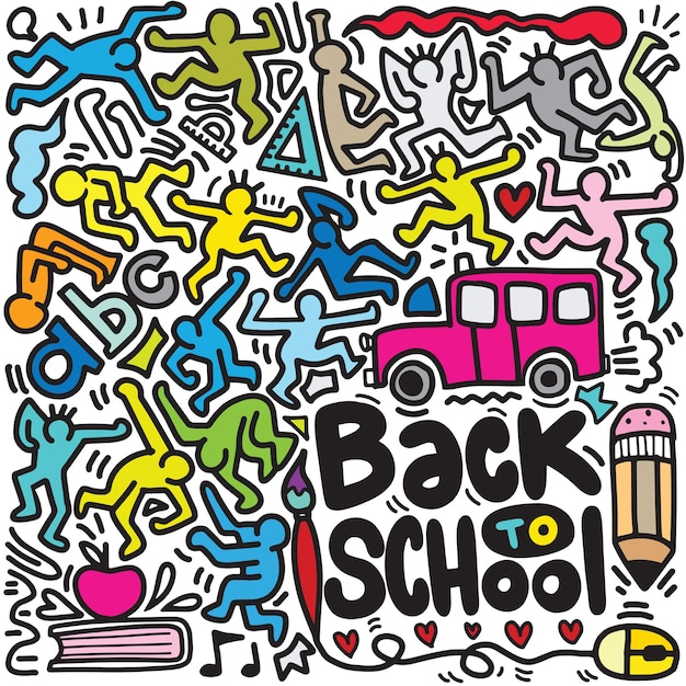 Retour à L'affiche De L'école Avec Des Griffonnages Vecteur Premium