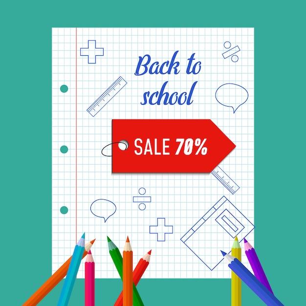 Retour à l'affiche de vente de l'école. Vecteur Premium