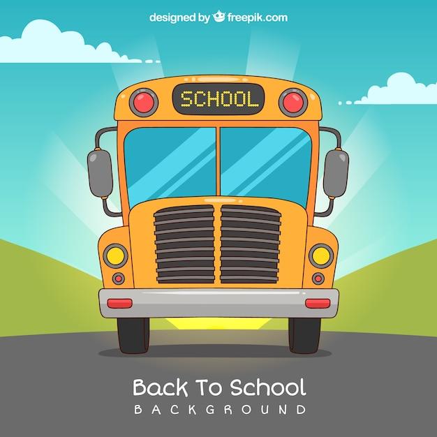 Retour à l'arrière-plan de l'école avec le bus Vecteur gratuit