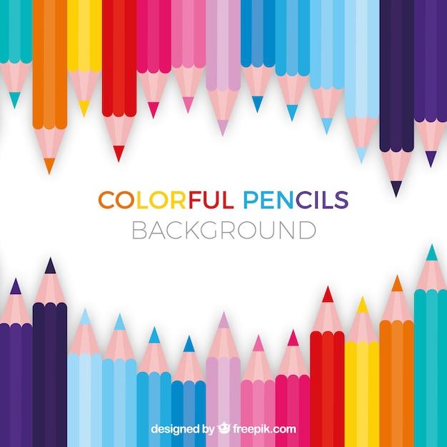 Retour à l'arrière-plan de l'école avec des crayons colorés Vecteur gratuit